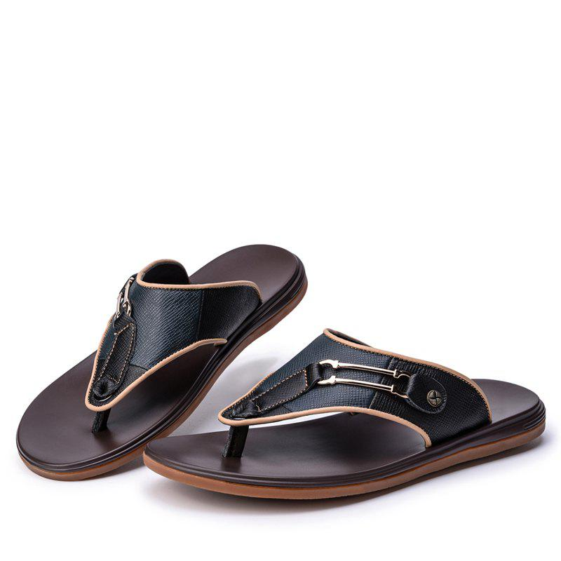 Men Sandals Summer Outdoor Beach Fashion Flip Flops Men High Quality Casual Men'S Slippers - BLACK 39