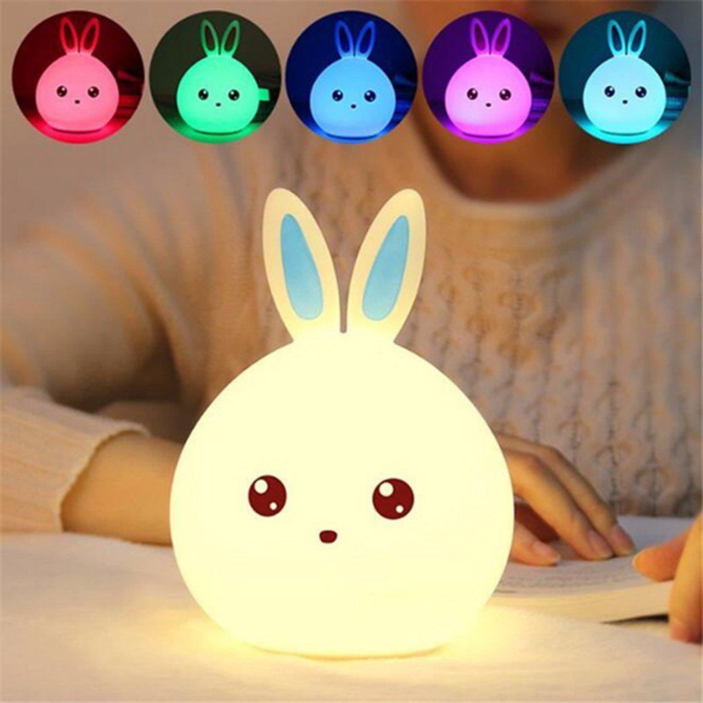 2018 Cute Rabbit LED Night Light 7 Color Changing for Children Baby ...