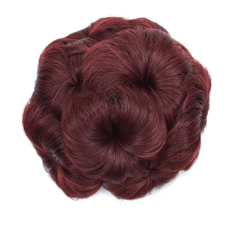 Top Quality Westerners Chignon Big Hair Bun Hair New Style Women Curly Combs Clip In Hair Bun Chignon Updo Cover Hair - BURGUNDY