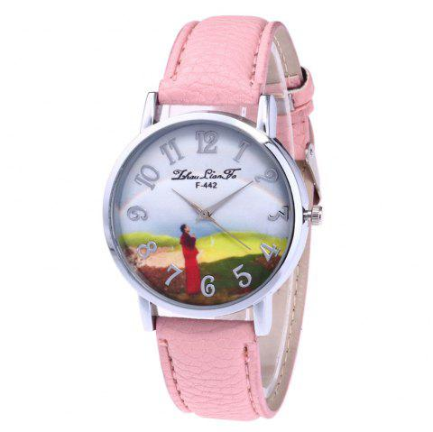 ZhouLianFa New Outdoor High-End Silver Dial Lychee Monk Quartz Watch - PINK