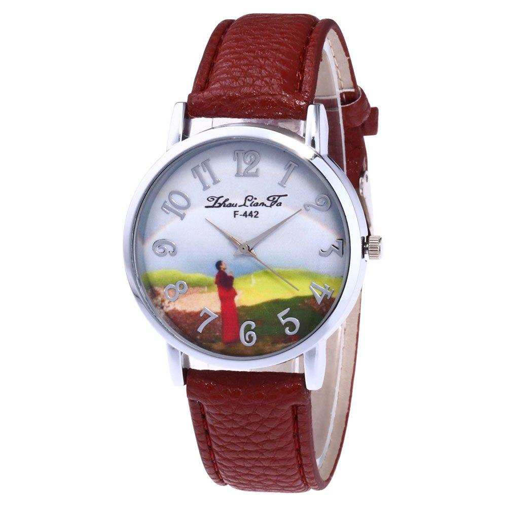 ZhouLianFa New Outdoor High-End Silver Dial Lychee Monk Quartz Watch - COFFEE