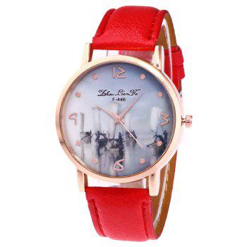 ZhouLianFa New Outdoor High-End Rose Gold Dial Lychee Pattern High-Rise Quartz Watch - RED RED