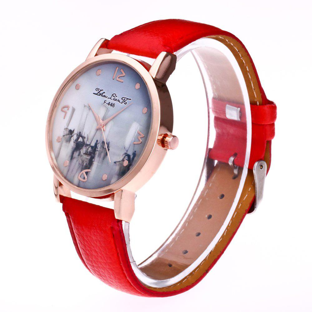 ZhouLianFa New Outdoor High-End Rose Gold Dial Lychee Pattern High-Rise Quartz Watch - RED