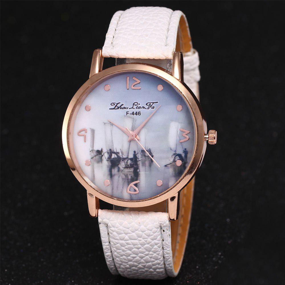 ZhouLianFa New Outdoor High-End Rose Gold Dial Lychee Pattern High-Rise Quartz Watch - WHITE