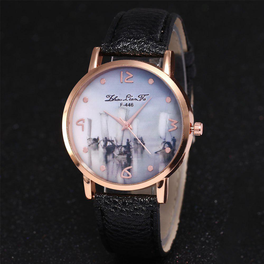 ZhouLianFa New Outdoor High-End Rose Gold Dial Lychee Pattern High-Rise Quartz Watch - BLACK