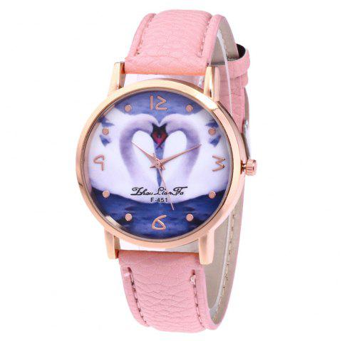 ZhouLianFa New Brand Lychee Pattern Strap Swan Love Pattern Luxury Ladies Quartz Watch - PINK