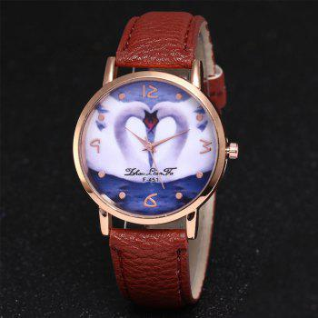 ZhouLianFa New Brand Lychee Pattern Strap Swan Love Pattern Luxury Ladies Quartz Watch - COFFEE