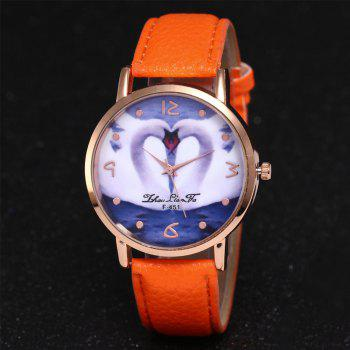 ZhouLianFa New Brand Lychee Pattern Strap Swan Love Pattern Luxury Ladies Quartz Watch -  ORANGE