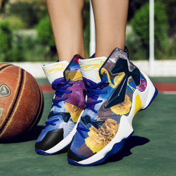 New Fashion Basketball Shoes - BLUE YELLOW 42