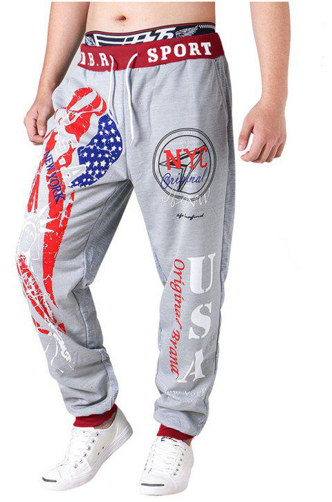 3 D Printing Design Elastic Waist Leisure Bigger Sizes Male Trousers - GRAY/RED 36