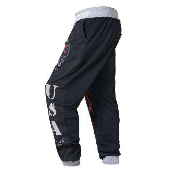 3 D Printing Design Elastic Waist Leisure Bigger Sizes Male Trousers - BLACK 38