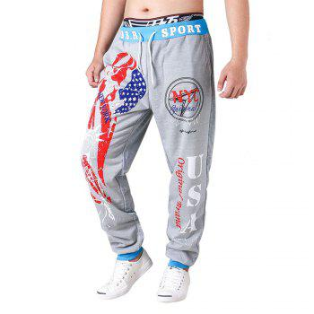 3 D Printing Design Elastic Waist Leisure Bigger Sizes Male Trousers - GRAY AND BLUE GRAY/BLUE