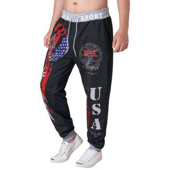 3 D Printing Design Elastic Waist Leisure Bigger Sizes Male Trousers - BLACK BLACK