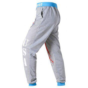 3 D Printing Design Elastic Waist Leisure Bigger Sizes Male Trousers - GRAY/BLUE 40