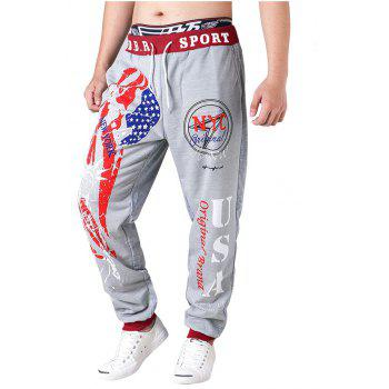 3 D Printing Design Elastic Waist Leisure Bigger Sizes Male Trousers - GRAY AND RED GRAY/RED