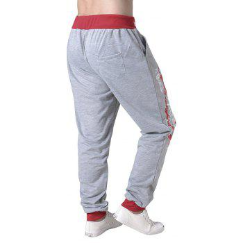 3 D Printing Design Elastic Waist Leisure Bigger Sizes Male Trousers - GRAY/RED 38
