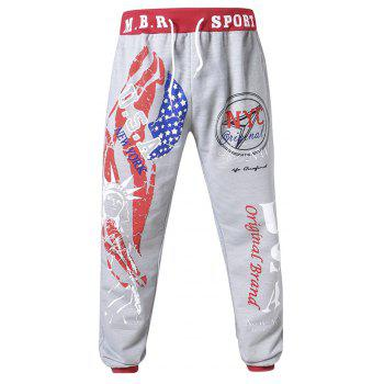 3 D Printing Design Elastic Waist Leisure Bigger Sizes Male Trousers - GRAY/RED 34