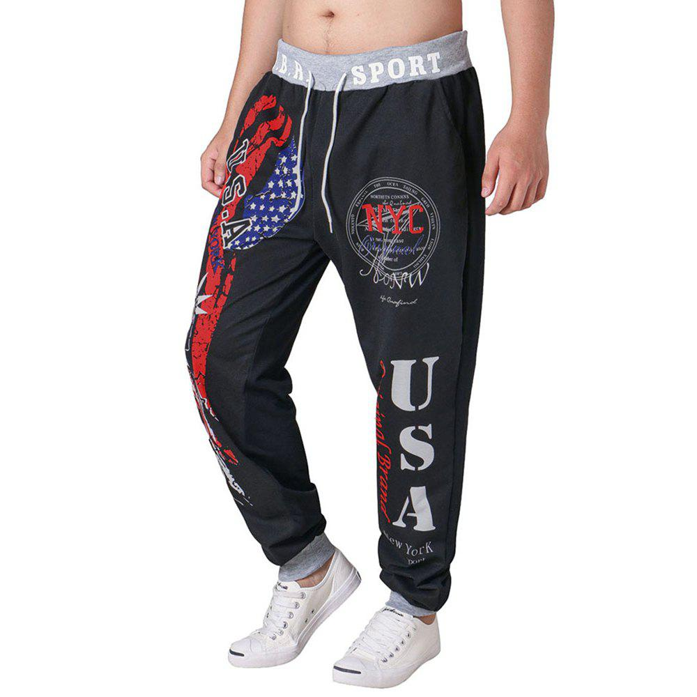 3 D Printing Design Elastic Waist Leisure Bigger Sizes Male Trousers - BLACK 36