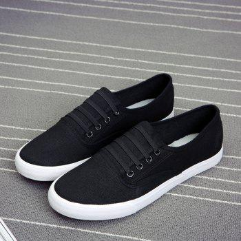 Men's Sneakers Casual Solid Color All Match Classic Canvas Shoes Sports Shoes - BLACK BLACK
