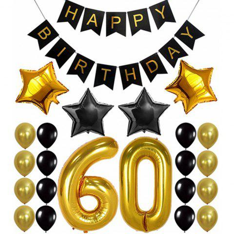60TH Birthday Party Decorations Kit Banner Gold Number Balloons Perfect 60 Years Old Supplies