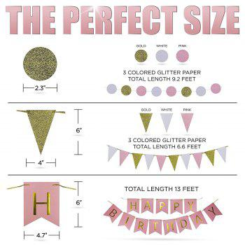 Pink Gold Cream Birthday Party Decoration Set Paper Flowers and Lanterns Paper Garland Glittering Triangle Bunting - multicolorCOLOR 31PCS