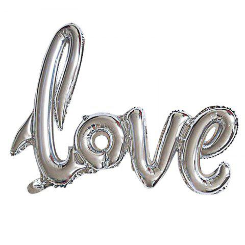 Love Balloon Banner Celebration Balloon Hanging for Wedding Party Decoration - SILVER M
