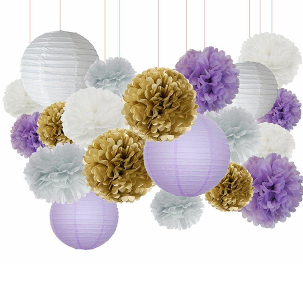 20PCS White Purple Gold Tissue Paper Pom Poms Lanterns Mixed Package for Bridal Shower Baby Shower Home Decoration - AS THE PICTURE 20PCS