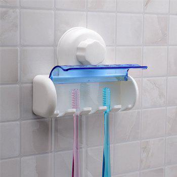 New Plastic Dust-Proof Bathroom Kitchen Family Toothbrush Suction Cups Holder Wall Stand Hook 5 Racks - WHITE