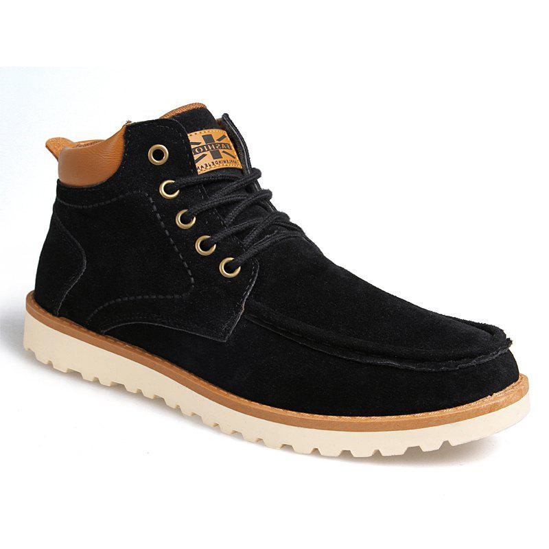 Autumn Winter High Top Sneakers Men's Casual Ankle Boots Martin Boots - BLACK  43