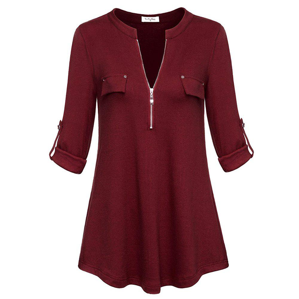 Women's Notch-V Neck Long Sleeve Roll-Up Sleeve Zip Up Casual Shirt Blouse Tops faux pearl decoration roll up sleeve tee