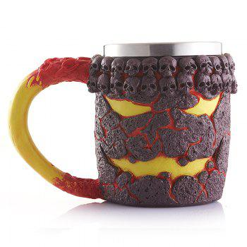 Creative Office Cup Monster Magma Resin Shell Retro Skeleton Stainless Steel Mug Modification - COLORMIX COLORMIX