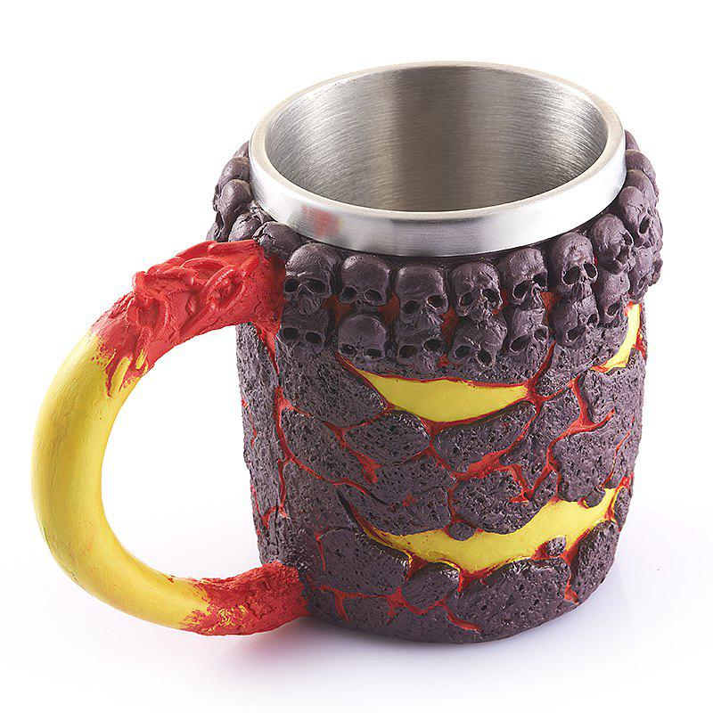 Creative Office Cup Monster Magma Resin Shell Retro Skeleton Stainless Steel Mug Modification - COLORMIX