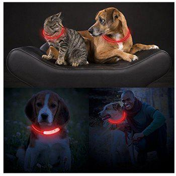 Yeshold LED Dog Necklace Collar USB Rechargeable Safety Waterproof Light Adjustable Flashing Pet Neck Loop - RED
