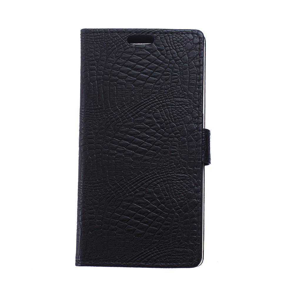 Cover Case for Samsung Galaxy J2 Pro 2018 Retro Crocodile Pattern Leather - BLACK