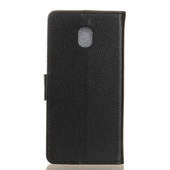Cover Case for Samsung Galaxy J2 Pro 2018 Pure Color Litchi Leather - BLACK