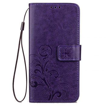 Lucky Clover Card Lanyard Pu Leather Cover for LG Q6 - PURPLE