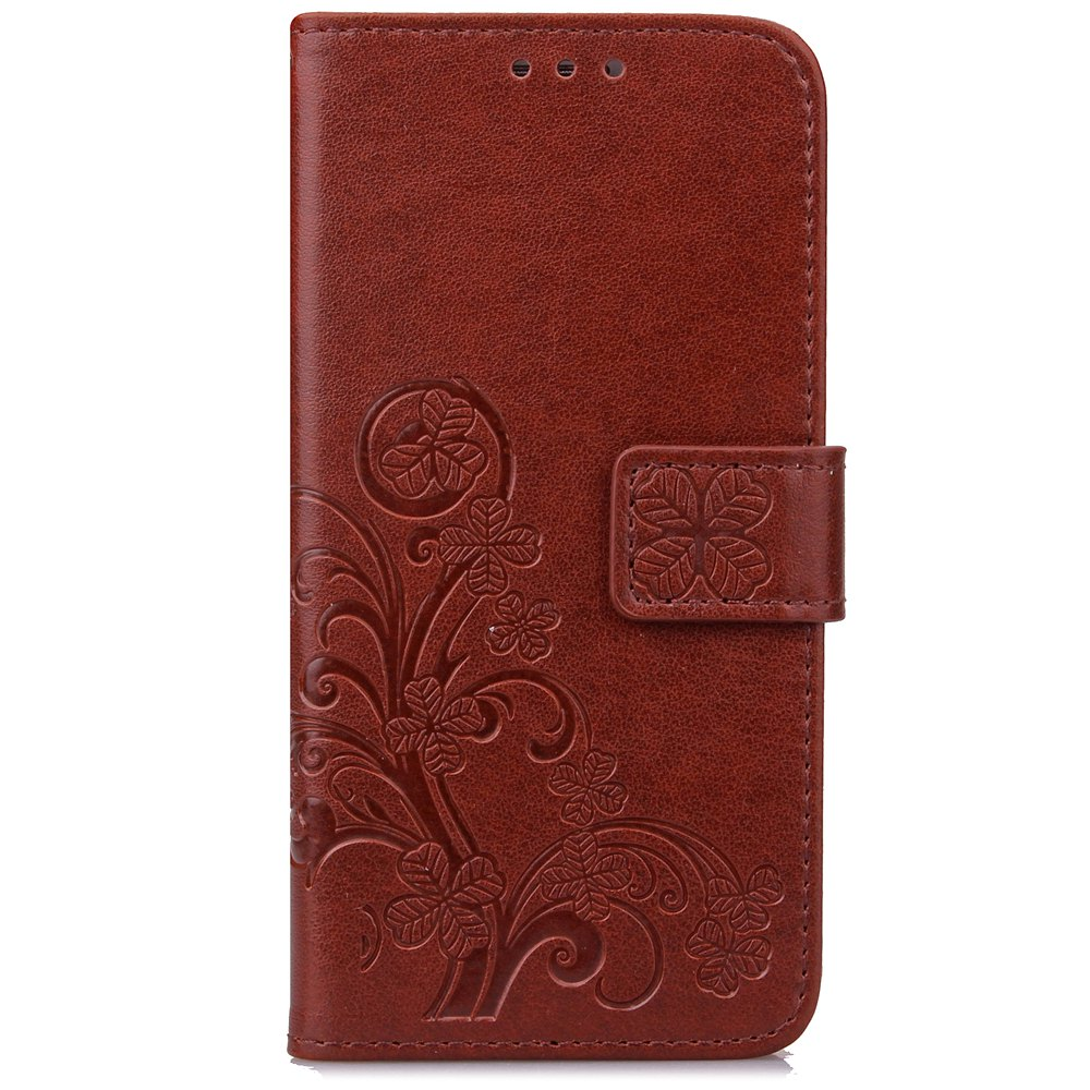 Lucky Clover Card Lanyard Pu Leather Cover for LG Q6 - BROWN