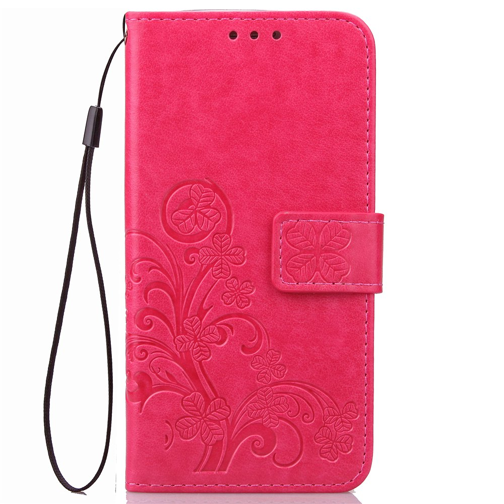 Lucky Clover Card Lanyard Pu Leather Cover for LG Q6 - ROSE RED