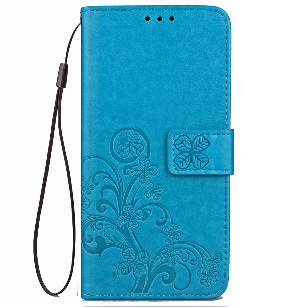 Lucky Clover Card Lanyard Pu Leather Cover for LG Q6 - BLUE