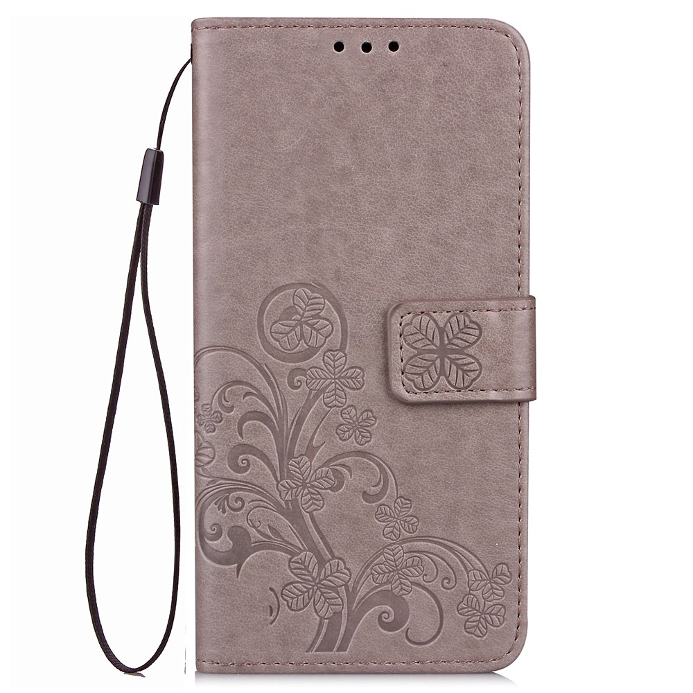 Lucky Clover Card Lanyard Pu Leather Cover for LG Q6 - GRAY