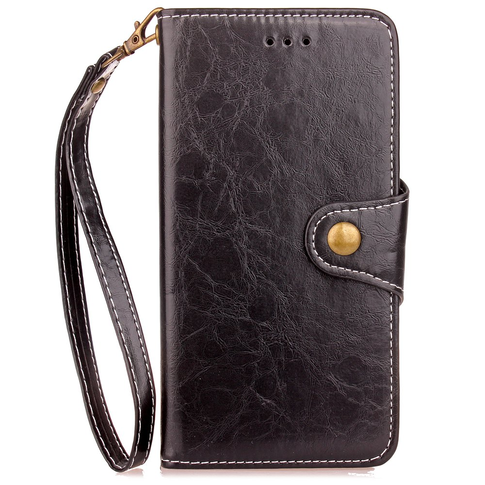 Retro Wax Oil Card Lanyard Pu Leather Cover for Xiaomi 5X - BLACK