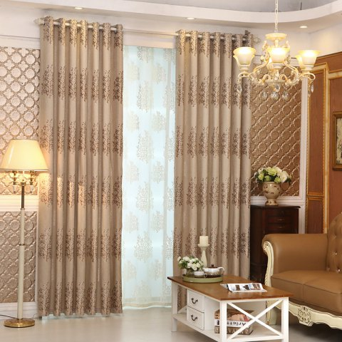 European Minimalist Style Living Room Bedroom Jacquard Curtains Grommet 2PCS - BROWNIE 2X(57WX84L)