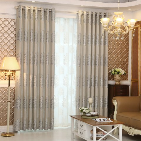 European Minimalist Style Living Room Bedroom Jacquard Curtains Grommet 2PCS - GRAY 2X(57WX84L)