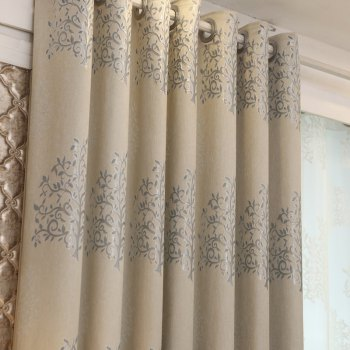 European Minimalist Style Living Room Bedroom Jacquard Curtains Grommet 2PCS - GRAY GRAY