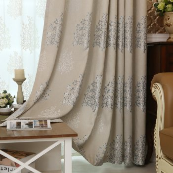 European Minimalist Style Living Room Bedroom Jacquard Curtains Grommet 2PCS - GRAY 2X(90WX90L)