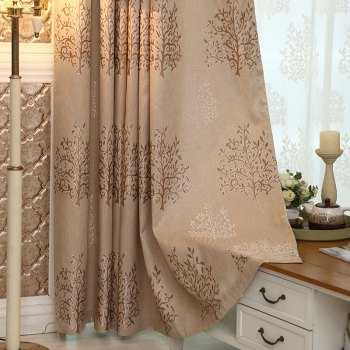 European Minimalist Style Living Room Bedroom Jacquard Curtains Grommet 2PCS - BROWNIE 2X(72WX63L)