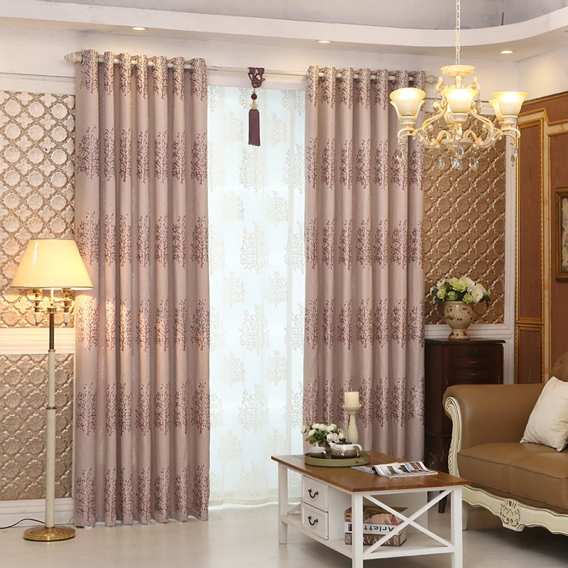 European Minimalist Style Living Room Bedroom Jacquard Curtains Grommet 2PCS - PURPLE 2X(90WX90L)