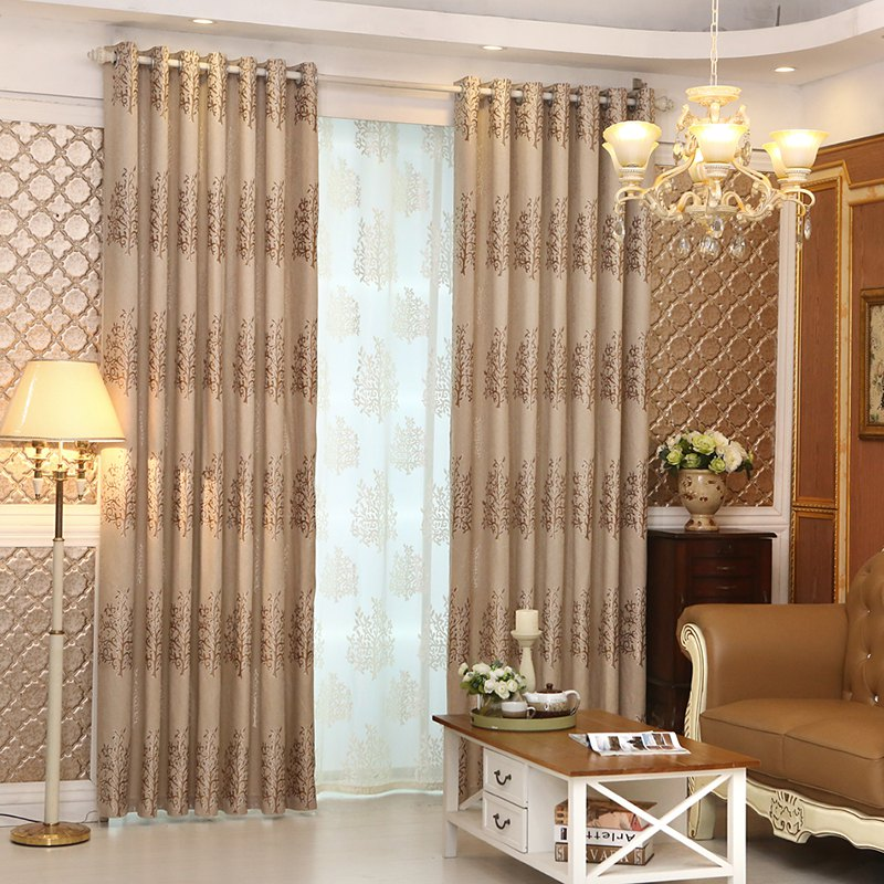 European Minimalist Style Living Room Bedroom Jacquard Curtains Grommet 2PCS - BROWNIE 2X(42WX63L)