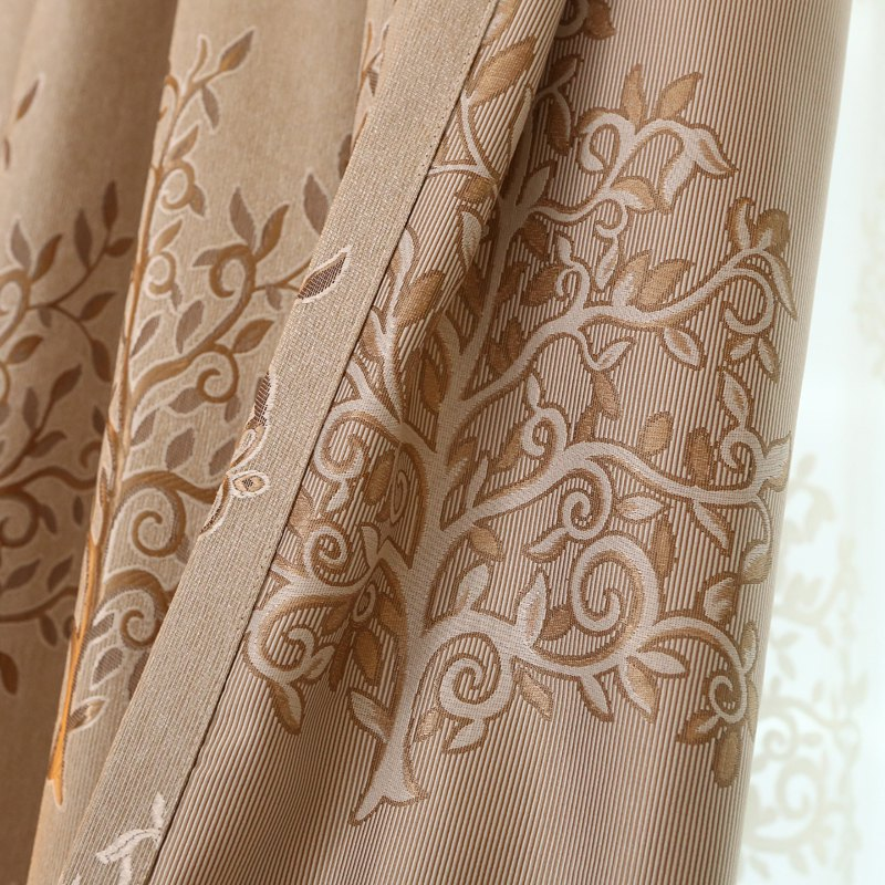 European Minimalist Style Living Room Bedroom Jacquard Curtains Grommet 2PCS - BROWNIE 2X(42WX84L)