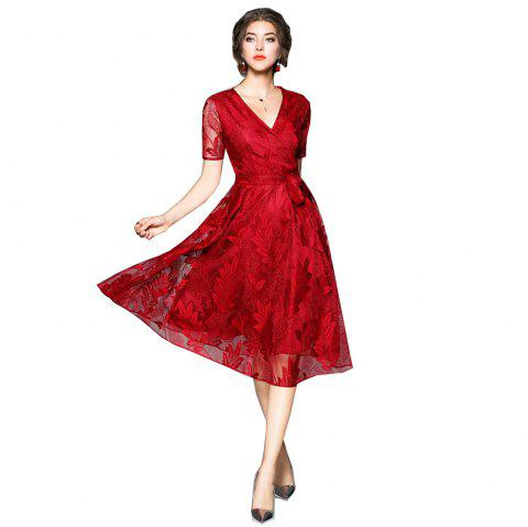 Spring and Summer 2018 New V-Neck Lace Dress - RED S
